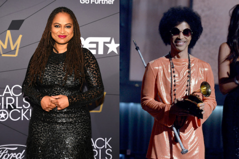 Ava DuVernay. Black woman with black dredlocs in black dress in front of dark grey background with gold and white insignia and letters; Prince. Black man with black afro in light orange jumpsuit holds gold award statue in front of navy and brown screen