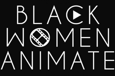 "White text reading ""BLACK WOMEN ANIMATE"" with play button logo and film reel embedded in letters on black background"