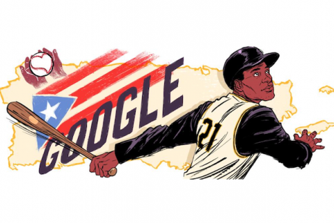 "Roberto Clemente. Illustration of Black Latinx man in black and tan baseball uniform holding brown baseball bat in front of black text reading ""GOOGLE"" and a red white and blue Puerto Rican flag on tan image of Puerto Rico"