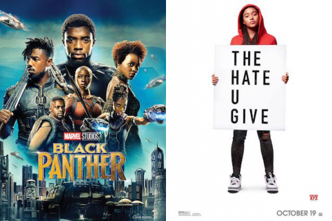 "Chadwick Boseman, Michael B. Jordan, Daniel Kaluuya, Danai Gurira, Letitia Wright, Lupita Nyong'o and Amandla Stenberg; Black women and men over text spelling ""BLACK PANTHER""; Black girl in red hoodie holding sign spelling ""THE HATE U GIVE"""