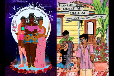 Black and Brown transgender individuals in multicolored clothing stand on blue pool with pink flowers in front of white moon and black and blue night sky with grey text; Brown transgender people sit in front of yellow house under black text