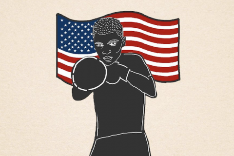 Muhammad Ali. Illustration of Black man in front of red and white and blue United States flag and beige background