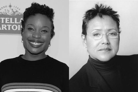 Chinonye Chukwu and Elaine Brown. Black-and-white images of two Black women in front of grey backgrounds in black and white clothes