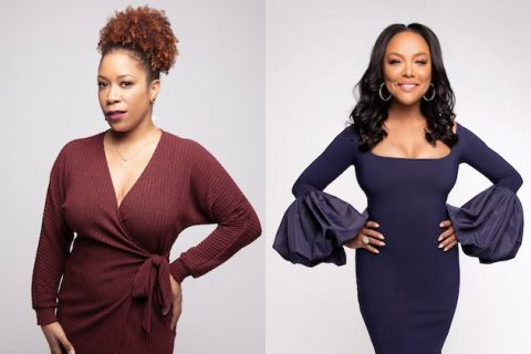 Tracy Clayton and Lynn Whitfield. Black woman wuth red hair poses in red dress in front of grey wall. Black woman with black hair poses in purple dress in front of white-gray wall.