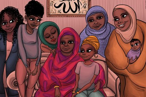 Colorful Illustration showing six women of color in Muslim clothing with head wraps and a baby.