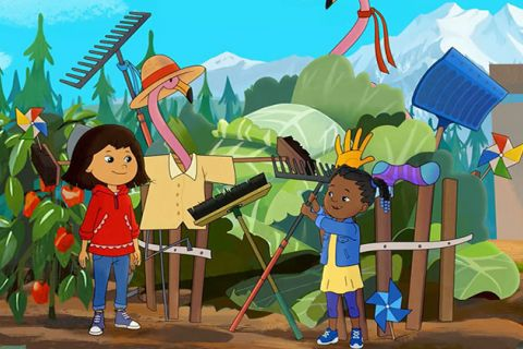 Molly of Denali. Animation showing Native Alaskan and Black girl in a town.