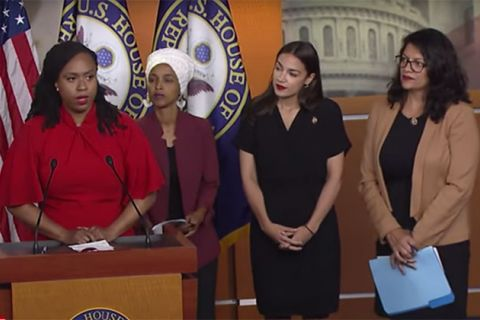 Representatives Ayanna Pressley, Ilhan Omar, Alexandria Ocasio-Cortez and Rashida Tlaib at press conference.