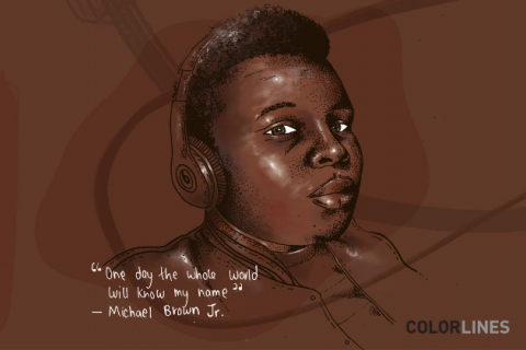 Michael Brown Jr. A drawing of a Black boy wearing headphones on a brown background