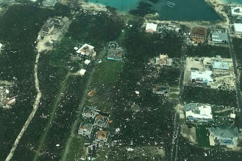 Aerial shot of Abaco Island, Bahamas after Hurricane Dorian