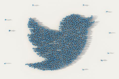 White background with people in blue arranged in shape of Twitter logo bird