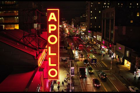 "The Apollo. Red theater marquee reads ""Apollo."""