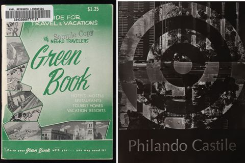 """The Green Book"" cover art (1940) and black and white photograph featuring the name ""Philando Castile."""
