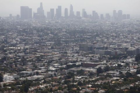 Aerial shot of smoggy day in Los Angeles, California.