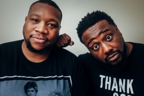 "Little Brother. Rapper Big Pooh wears a black t-shirt with a picture from ""The Golden Girls."" Phonte wears a black t-shirt that says ""Thank you."""