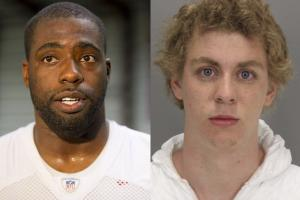 Brian Banks on left with white jersey and red lettering, Brock Turner mugshot on right with white sweatshirt and brown background