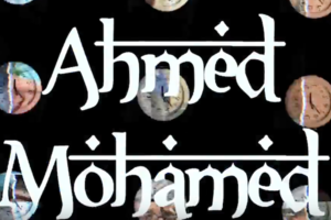 """Ahmed Mohamed"" in white text, black background with images of clocks"