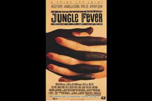 """Jungle Fever"" movie poster with Black and White hands and fingers interlaced"