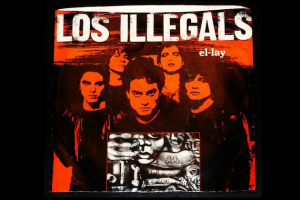 "Los Illegals ""El-Lay"" artwork in red and grayscale, black background"
