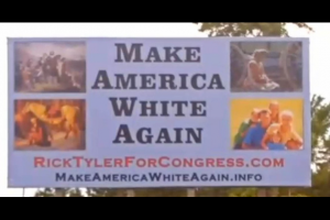 "White billboard reading ""Make America White Again"" in Black text"