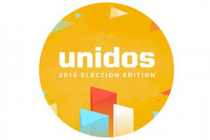 Unidos App logo with orange circle and white text, white background
