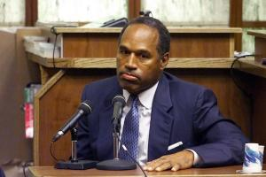 O.J. Simpson in navy suit, blue tie and white shirt on witness stand