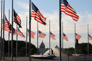 United States flags fly at half mast with sprinkler and U.S. Capitol in the background