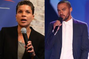 Michelle Alexander in black jacket and grey shirt, holding black microphone; Jesse Williams in blue suit and white shirt, holding black microphone