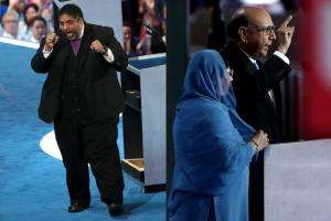 William Barber in Black clerical robes with blue background; Ghazala Khan in blue hijab and Khizr Khan in navy suit with blue and black background