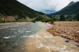 Cement Creek, which was flooded with millions of gallons of mining wastewater, meets with the Animas River on Aug. 11, 2015, in Silverton, Colorado. The EPA accidentally released approximately 3 million gallons of wastewater into the creek from the Gold K