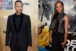 John Legend in black tuxedo; Tika Sumpter in black top and slacks