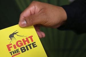 A city environmental health worker displays literature to be distributed to the public on April 14, 2016, in McAllen, Texas. Health departments, especially in areas along the Texas-Mexico border, are preparing for the expected arrival of the Zika Virus.
