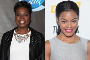 Leslie Jones in black jacket with white shirt against dark gray background; Teyana Taylor in grey dress against white background
