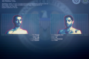 Blue-gray security screen with images of two shirtless brown men in insets