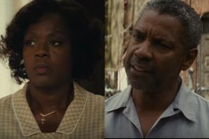 Viola Davis in brown cardigan sweater; Denzel Washington in grey collared shirt