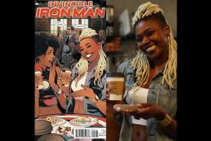 Split image of (on left) a comic cover with two smiling Black women against crowd in brown-floored and -walled room; (right) Black woman with blonde dreadlocks in blue denim and white cropped t-shirt, holding brown and white coffee cup