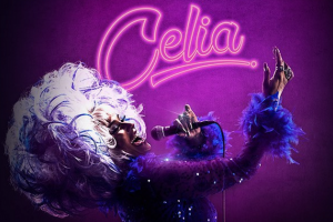 "Woman with white hair against purple background under ""Celia"" in neon purple text"