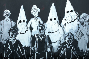Black and white drawing of white people and Ku Klux Klan members behind row of Black people