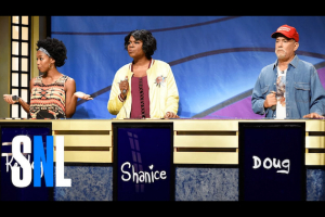 Two Black women next to White man behind blue podiums with white lettering, all against blue and purple wall pattern