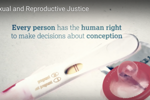 A photo illustration of a pink condom and stick-style pregnancy text