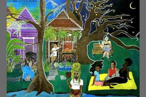 Artwork featuring trans people of color against blue and black sky, multi-colored houses, green grass and a blue stream
