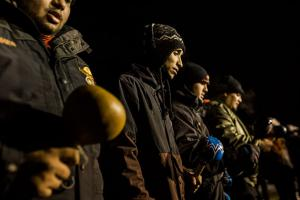 Water protectors pray during a confrontation with police on November 20-21, 2016.