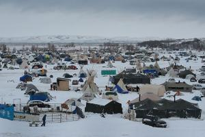 Snow covers Oceti Sakowin Camp near the Standing Rock Sioux Reservation on November 30, 2016, outside Cannon Ball, North Dakota.
