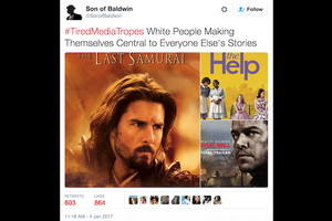 White men and women in movie posters with multicolored backgrounds set against White twitter box with icon of Black man at top and whole image featuring black and red text