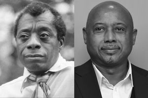 Greyscale image of Black man in white shirt with patterned tie; greyscale image of Black man in white shirt with black blazer