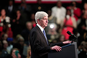 Michigan Gov. Rick Snyder speaks at Northwest High School about the Flint water contamination crises May 4, 2016, in Flint, Michigan.