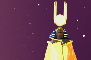 Animation of Black man in golden robes and gold-and-blue headdress with gold antennae against purple sky with yellow and pink stars