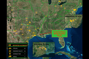 The map above illustrates accidents across the U.S. by Energy Transfer Partners. The yellow points are where different accidents have happened, including pipeline spills, onshore facility malfunctions, storage tank leaks and mobile incidents.