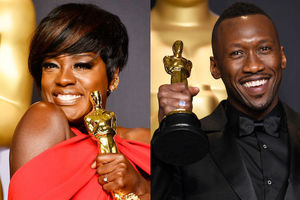 Viola Davis and Mahershala Ali pose with their Oscars.