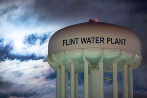 The City of Flint Water Plant is illuminated by moonlight on Jan. 23, 2016, in Flint, Michigan. The state approved new funds for the city yesterday.
