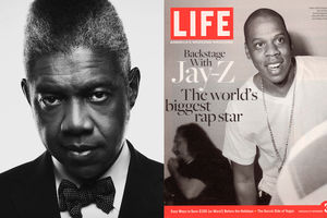 Black and white photo of George Pitts, Life magazine cover featuring Jay Z